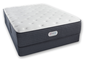 "Simmons Beautyrest Platinum Gibson Grove Luxury Firm and 2"" Soft Latex Topper."